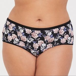 NEW TORRID SKULL FLORAL COTTON CHEEKY PANTY
